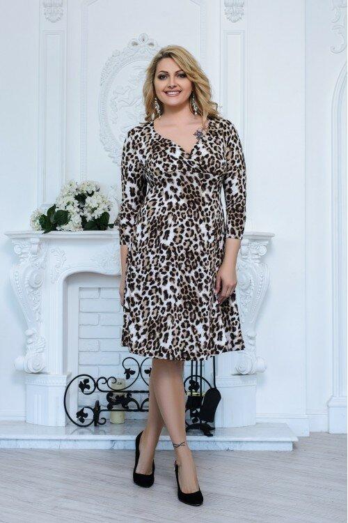 Платье Варя леопардовое арт.2763 большое размер