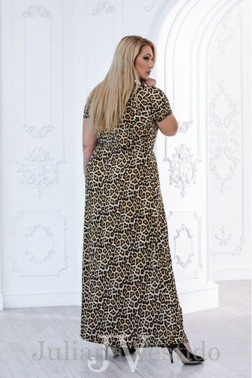 Платье в пол Саманта леопард арт.2805 большое размер