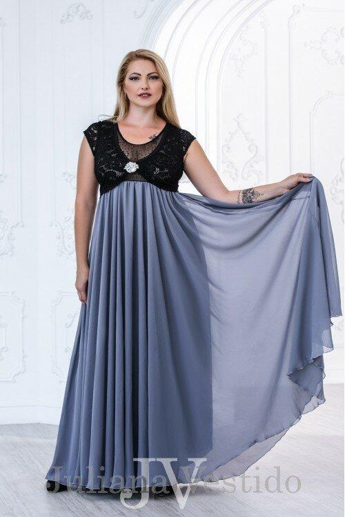Вечернее платье в пол Анфиса серый арт.2755 большое размер