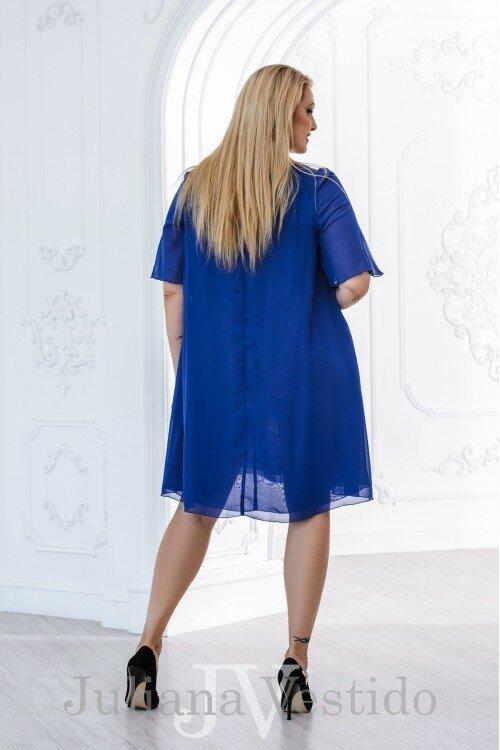 Шифоновое платье Нона электрик арт.2817 большое размер