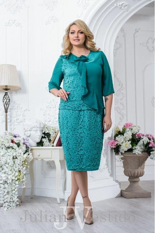 Платье гипюровое Анжели бирюза арт.2702 большое размер