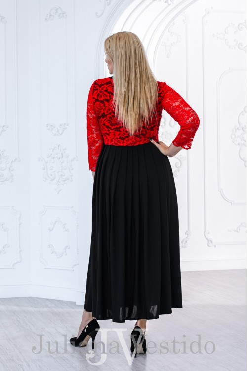 Платье с гипюром Делис красный арт.2826 большое размер