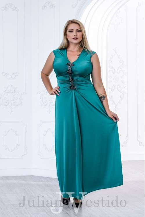 Вечернее платье в пол Дикси морская волна арт.2830 большое размер