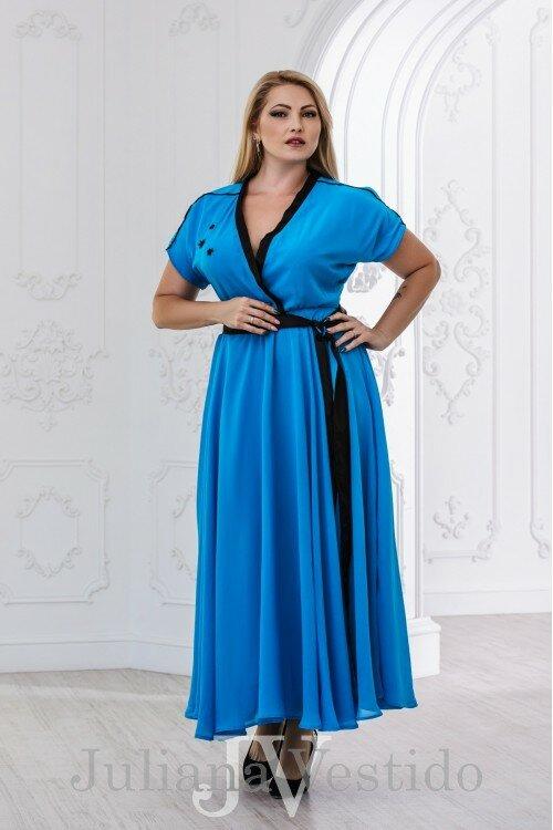 Платье в пол Ирина голубой арт.2832 большое размер