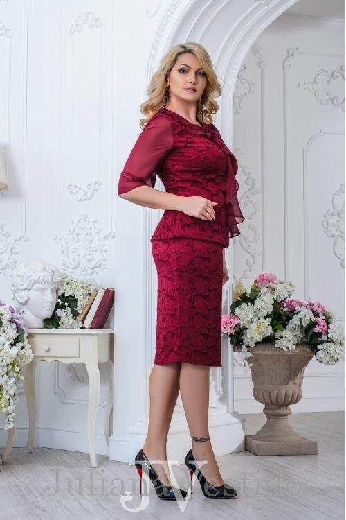 Платье гипюровое Николь бордо арт.2704 большое размер