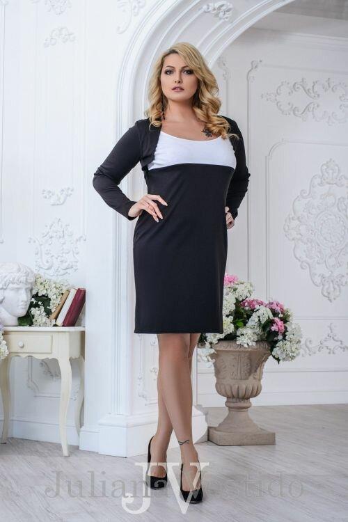 Офисное платье Анна черный арт.2706 большое размер