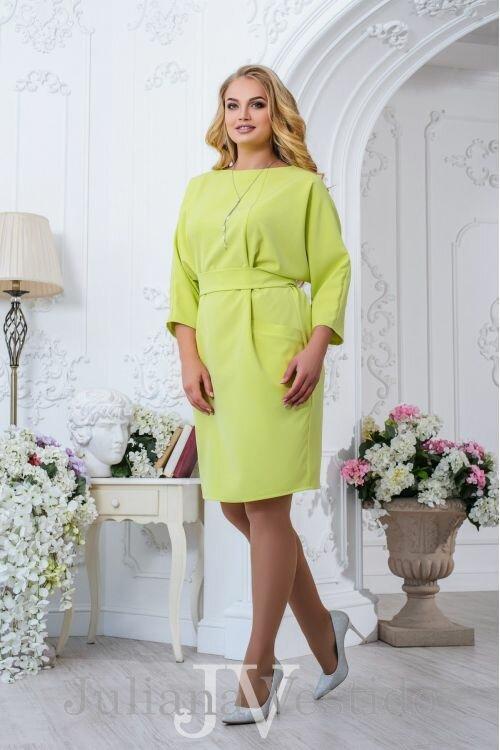 Платье Мари оливковое арт.2709 большое размер