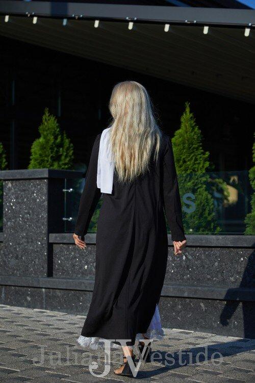 Платье черное с шарфиком Мая арт.с1222 большое размер