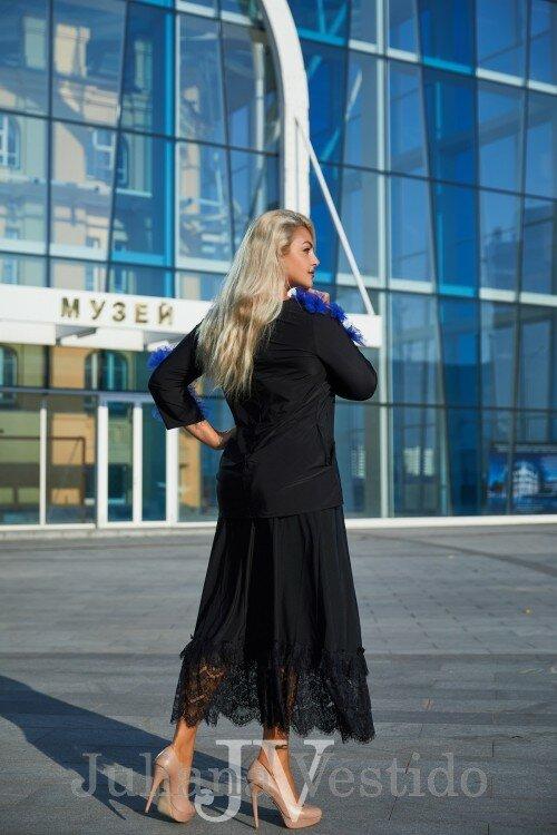 Костюм-двойка с синими цветами Алиса арт.с1223 большое размер