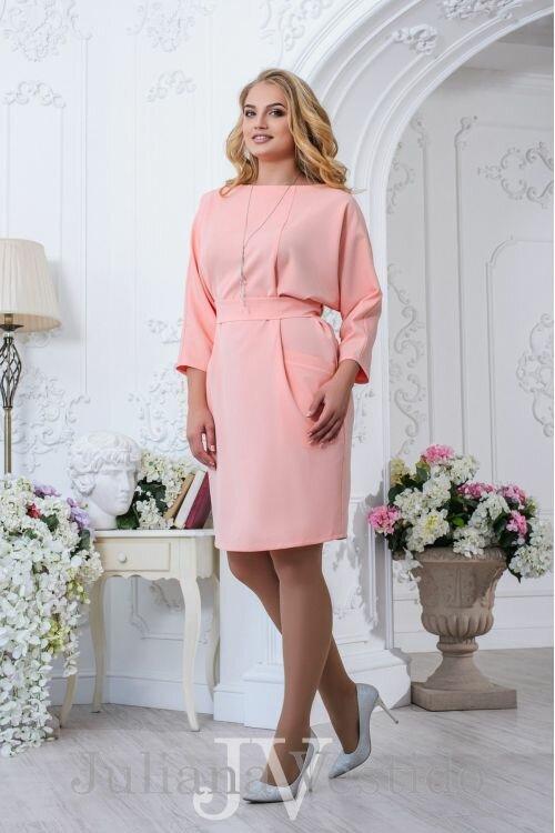 Платье Мари персик арт.2734 большое размер