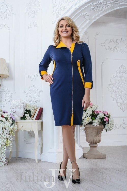 Платье Анжели на змейке синий арт.2737 большое размер