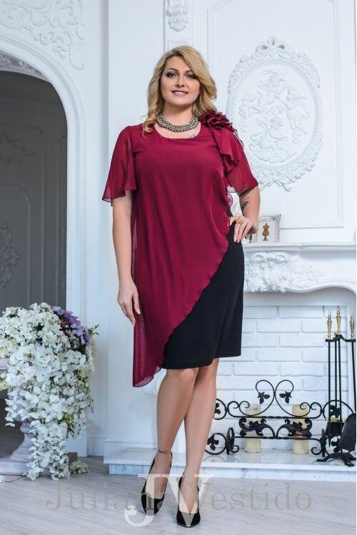 Платье Лея с накидкой бордо арт.2740 большое размер