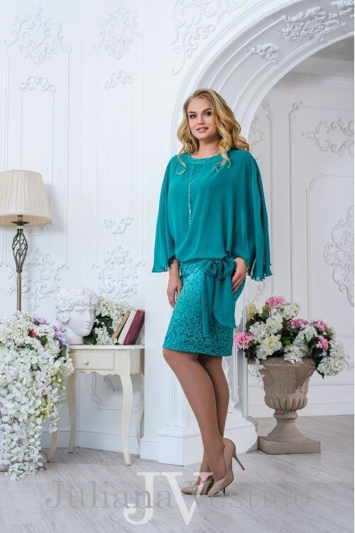 Нарядное платье Амелия бирюза арт.2705 большое размер