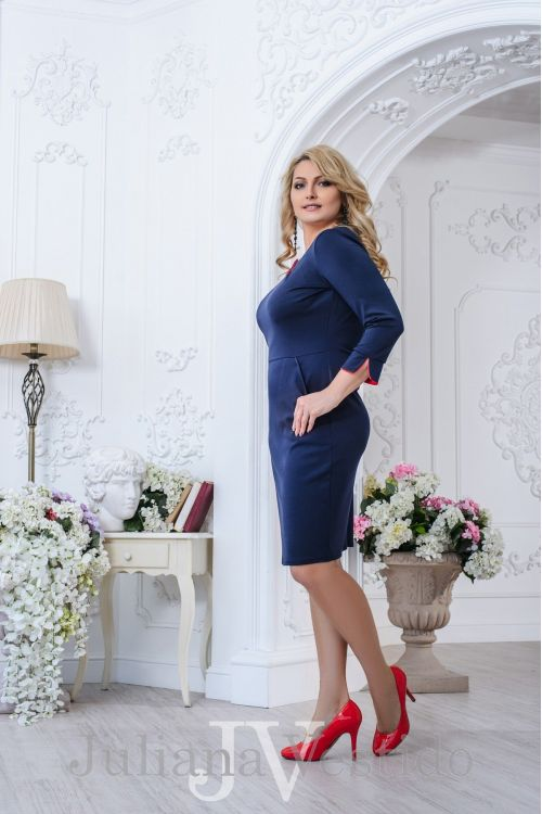 Платье Амели синий арт.2735 большое размер