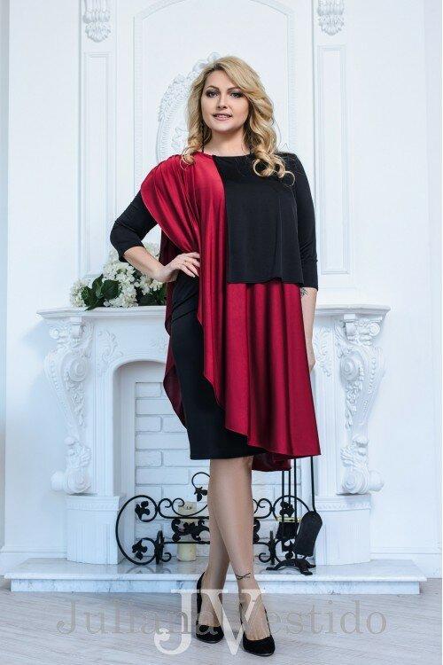 """Стильное платье большого размера с контрастными накидками из весенней коллекции """"Эстель"""""""